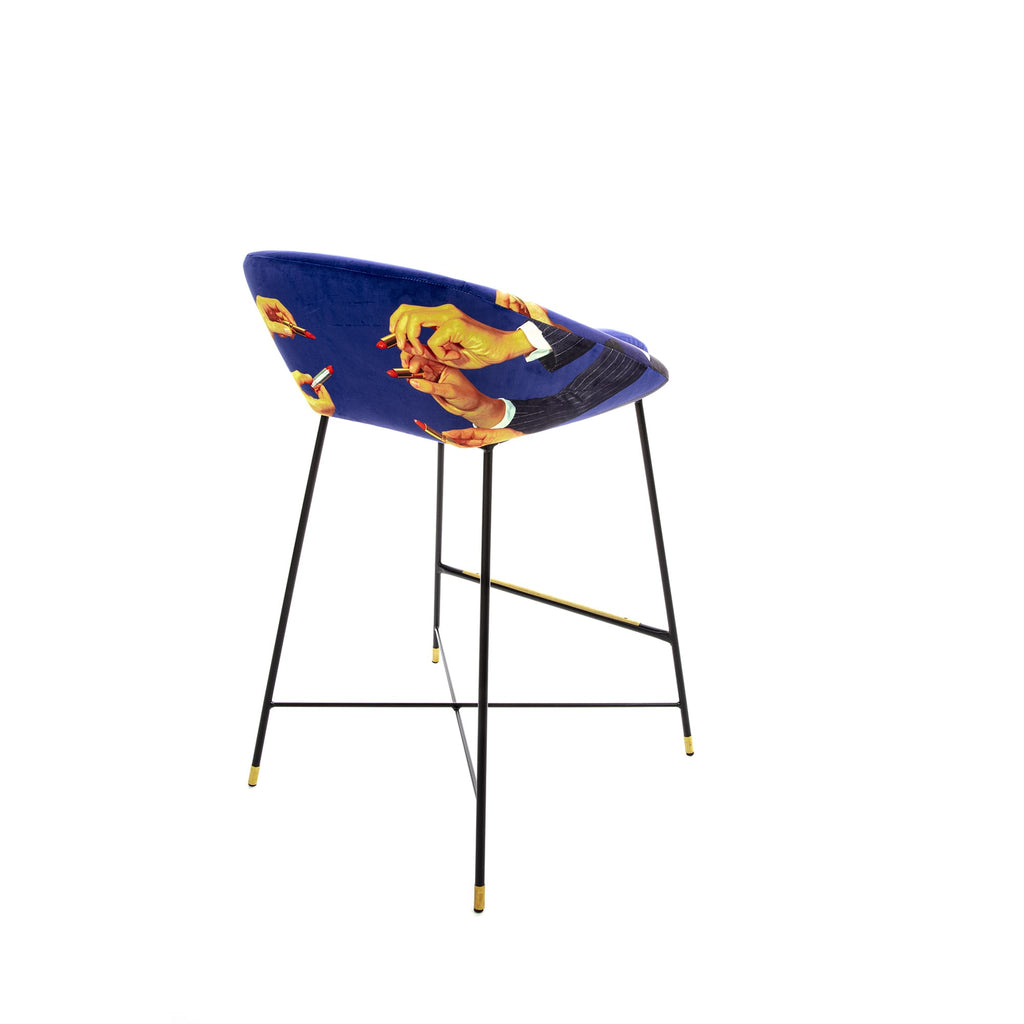 LIPSTICK BLUE HIGH BAR STOOL