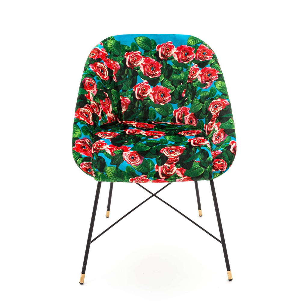 "SELETTI Upholstered Chair Roses ""Toiletpaper"""
