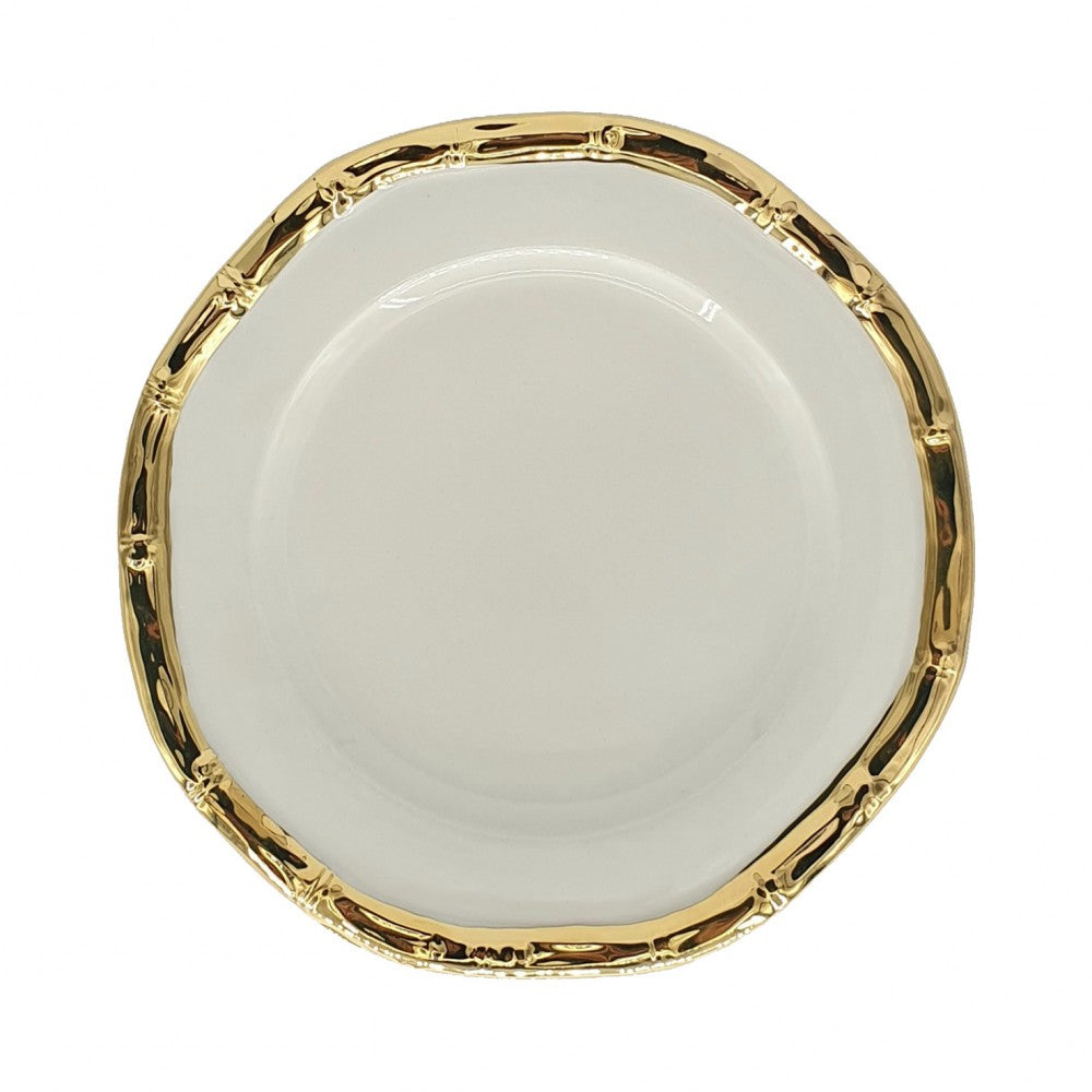 BAMBOO GOLD-PLATED CERAMIC DESSERT PLATE