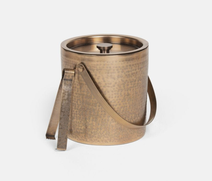 AMHERST BRASS ICE BUCKET WITH TONGS