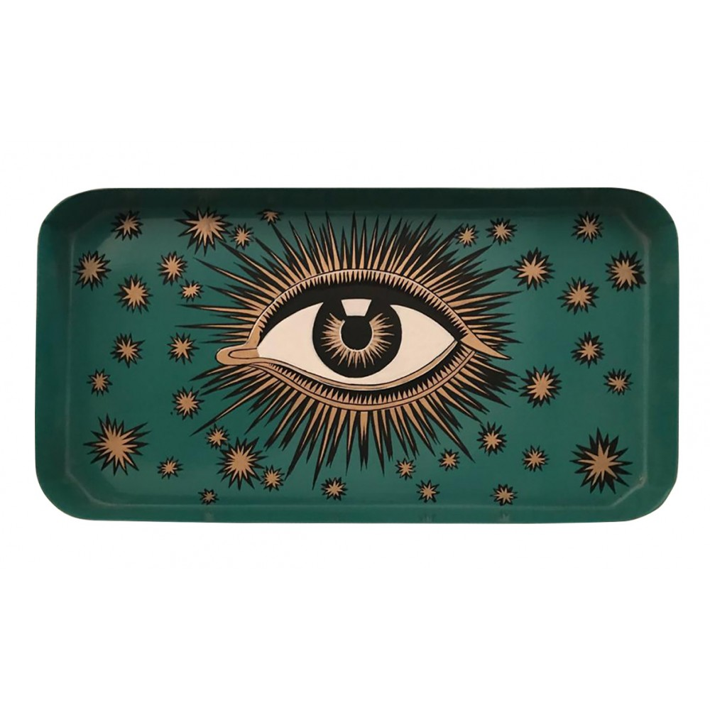 HAND PAINTED EVIL EYE IRON TRAY