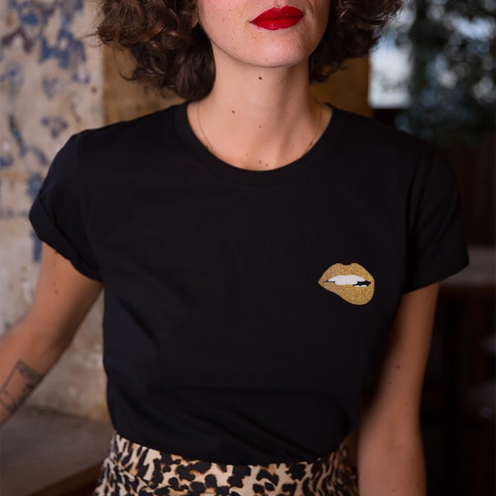 MARTINA GOLD LIP BLACK T-SHIRT