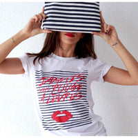 JSRAL STRIPPED LIPS T-SHIRT