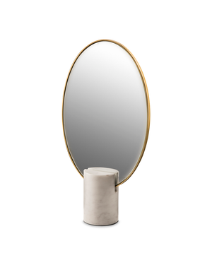 MIRROR OVAL MARBLE WHITE