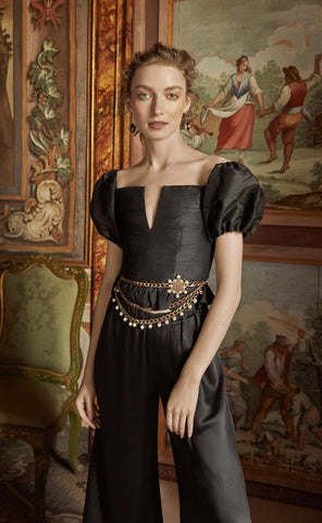 In Stock: Lucia Black Silk Dupioni Top