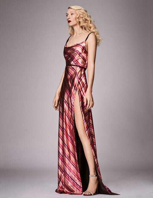Amarna Metallic Stripe Gown