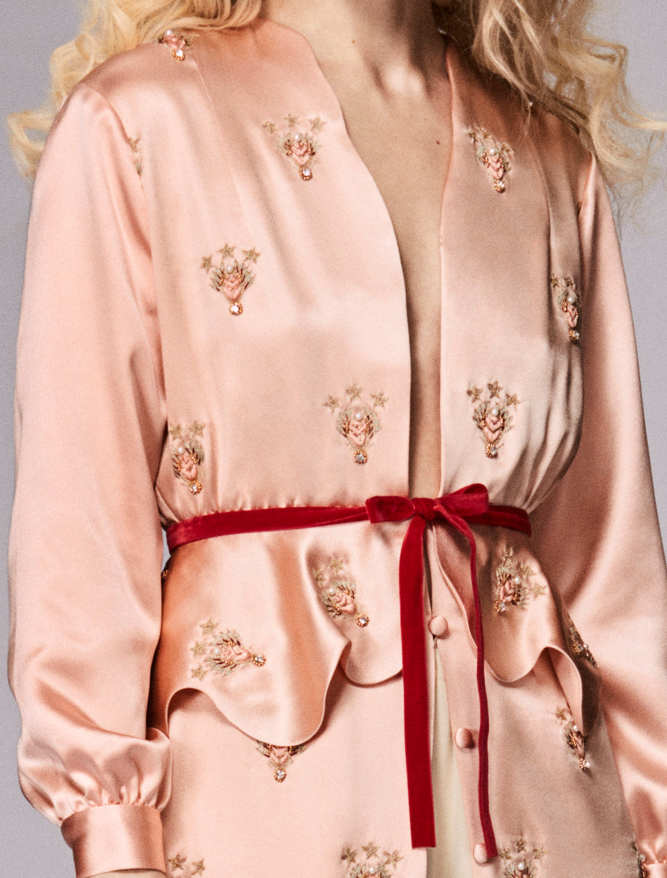 Arabesque Scarab Peplum Pink Satin Coat