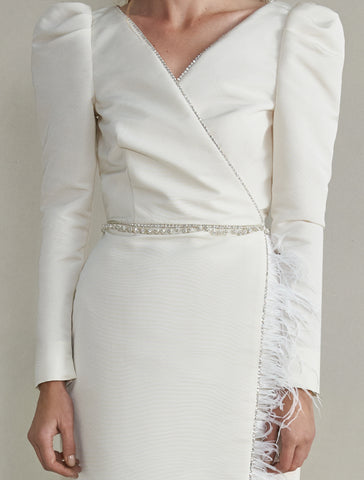 Artemis White Silk Dress with Feather Detailing