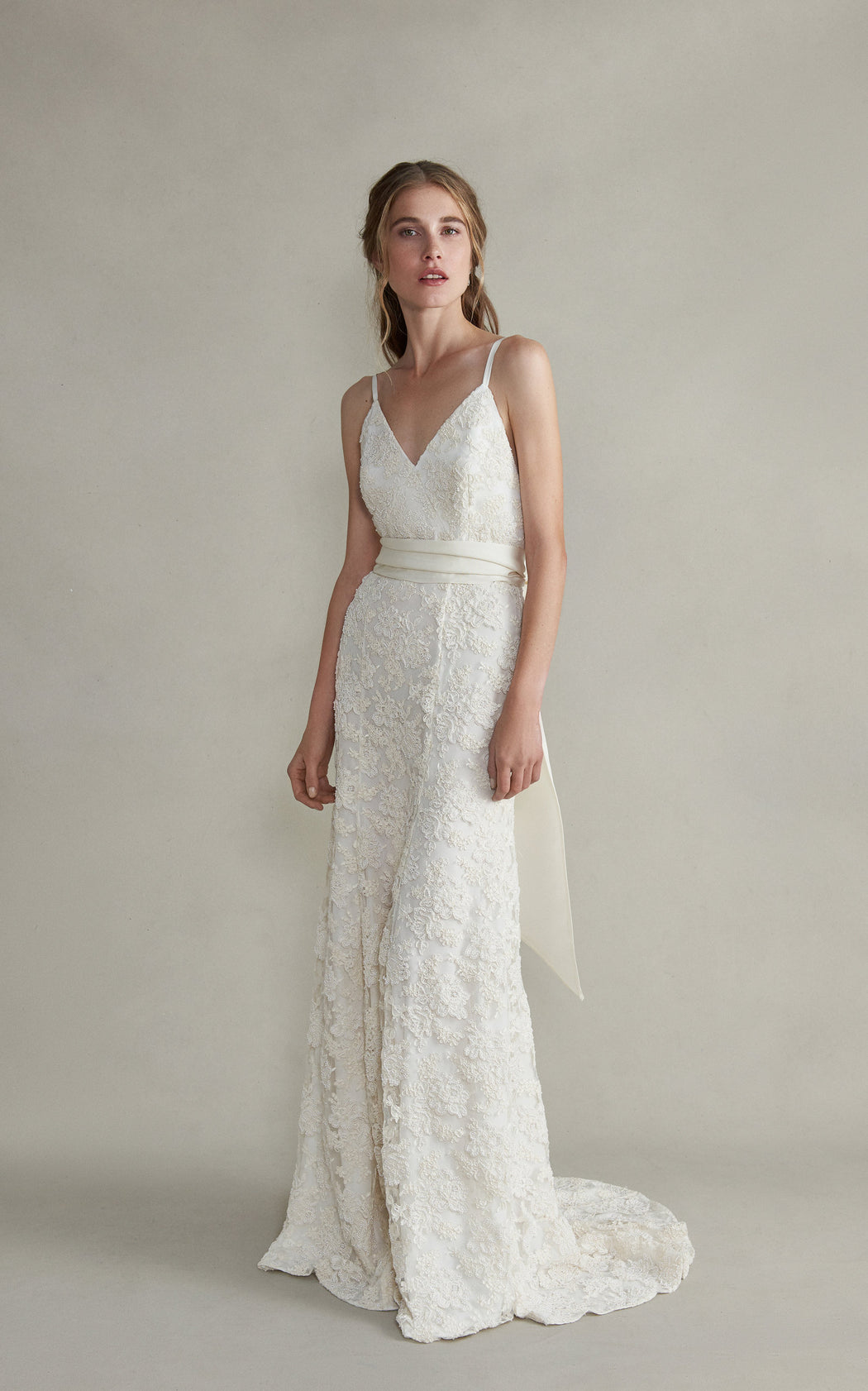 Aurelia Beaded White Lace Brocade Gown