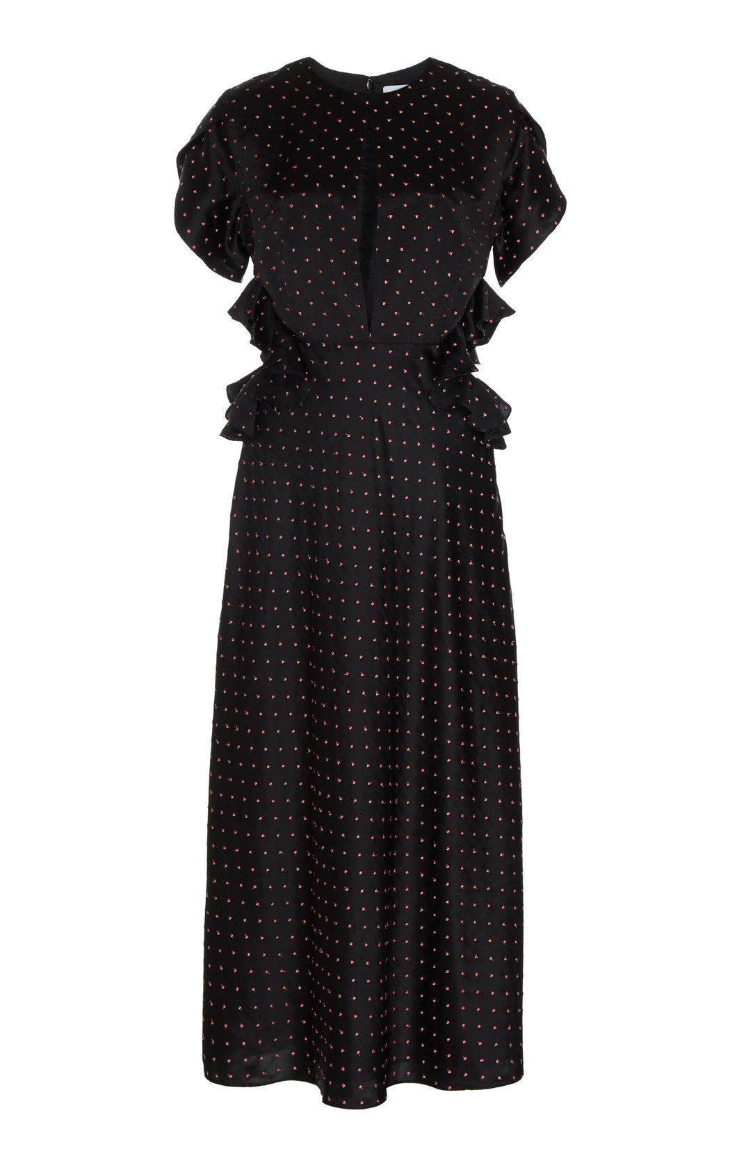 Ava Black Dotted Silk Dress