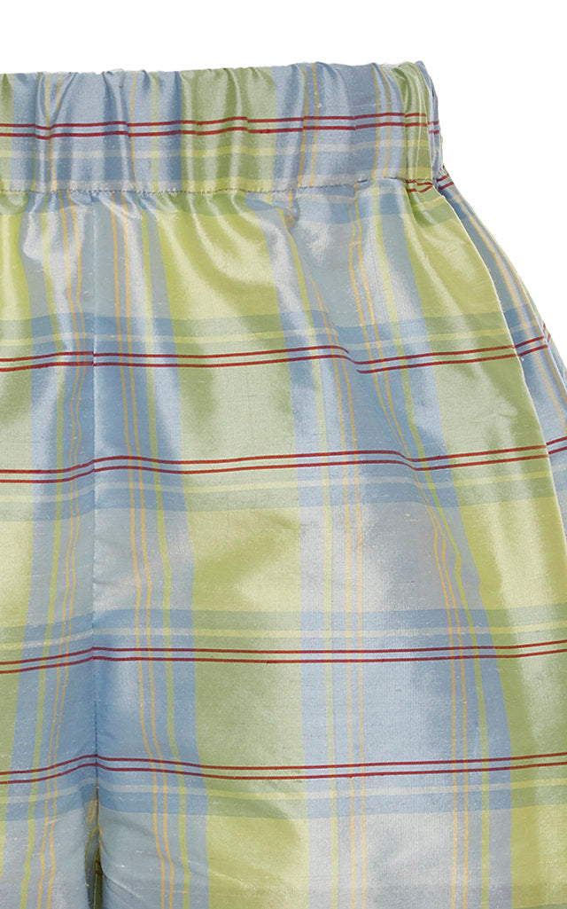 Barber Blue Plaid Silk Shorts