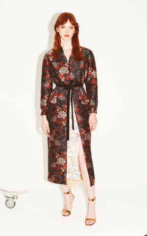In Stock: Bia Belted Floral Brocade Coat