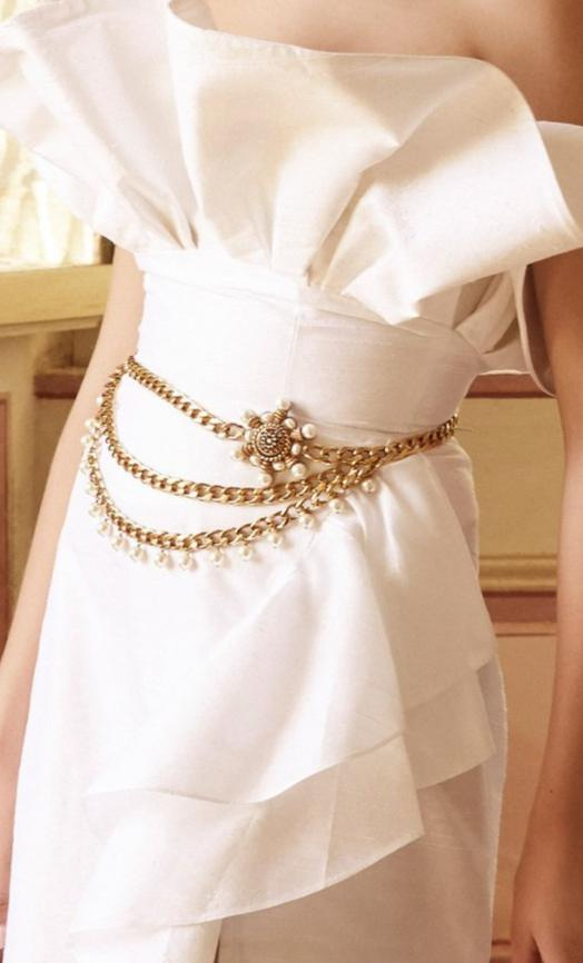 X Ciner Valeria Gold-Plated Chain Belt with Blue Crystals