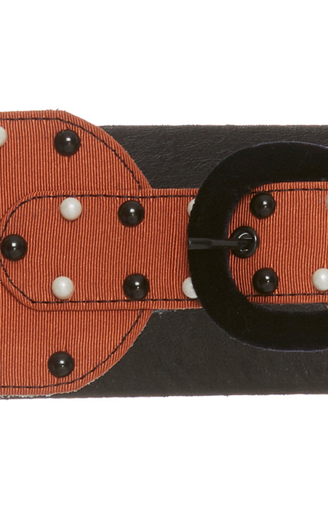 Flora Brown Silk Faille Studded Belt