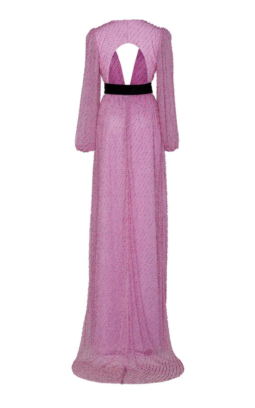 In Stock: Cassiopeia Pink Embellished Belted Tulle Gown