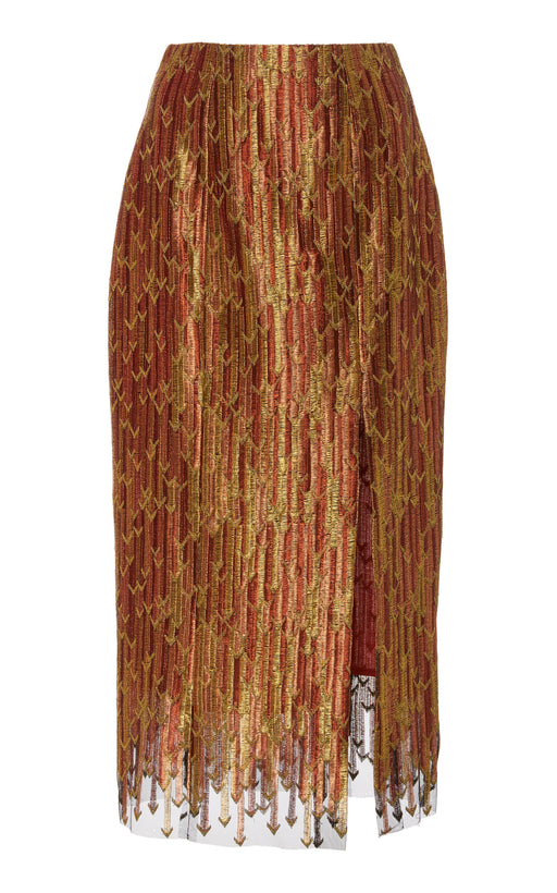 In Stock: Caterina Metallic Brocade Pencil Skirt