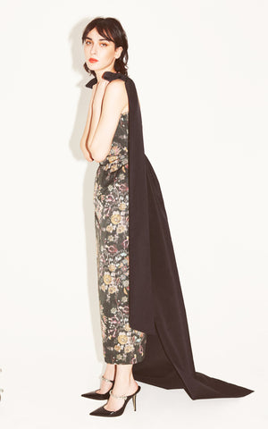 Celestia Black Floral Brocade Dress with Taffeta Details