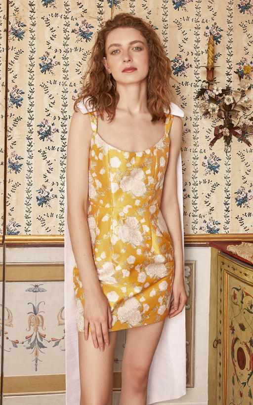 In Stock: Celestia Yellow Floral Brocade Corset Mini Dress