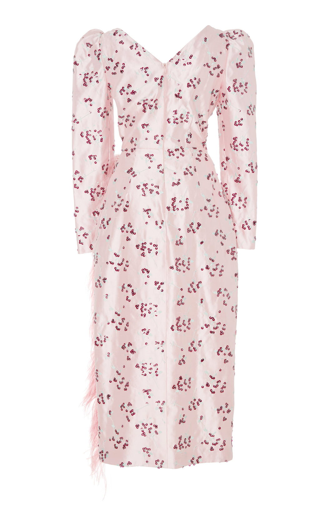 Pink Cherry Blossom Embroidered Wrap Dress