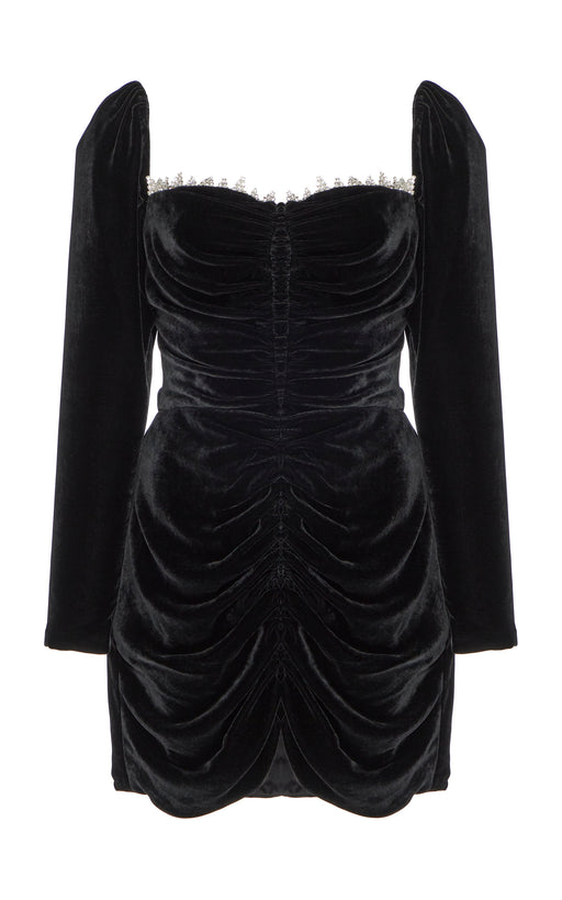 In Stock: Crawford Black Velvet Mini Dress