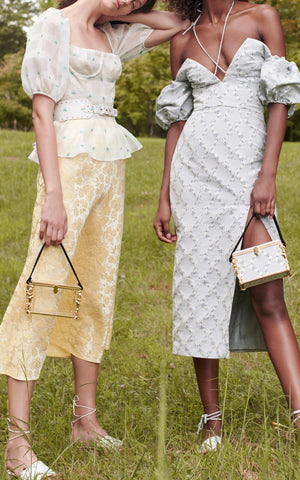 Sample Sale: Crawford Yellow Floral Brocade Skirt