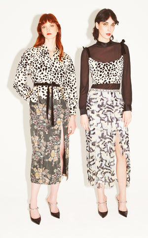 In Stock: Cru Dalmatian Print Belted Crepe Jacket