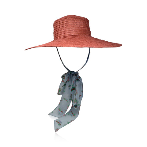 Coral Straw Boater Hat with Blue Floral Silk Ribbon