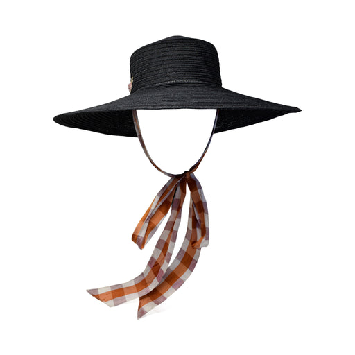 Black Straw Boater Hat with Orange Plaid Dupioni Ribbon