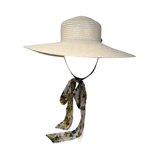 Natural Straw Boater Hat with Green Floral Silk Ribbon