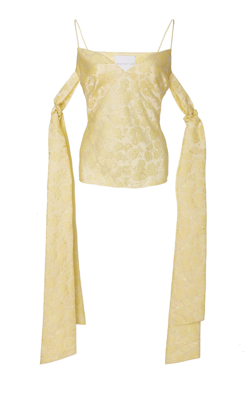 Yellow Floral Brocade Top