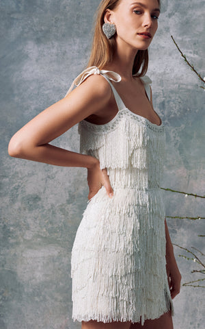 Diana White Fringe Mini Dress