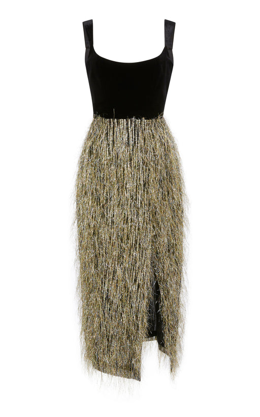 Disco Tech Fringe Velvet Midi Dress