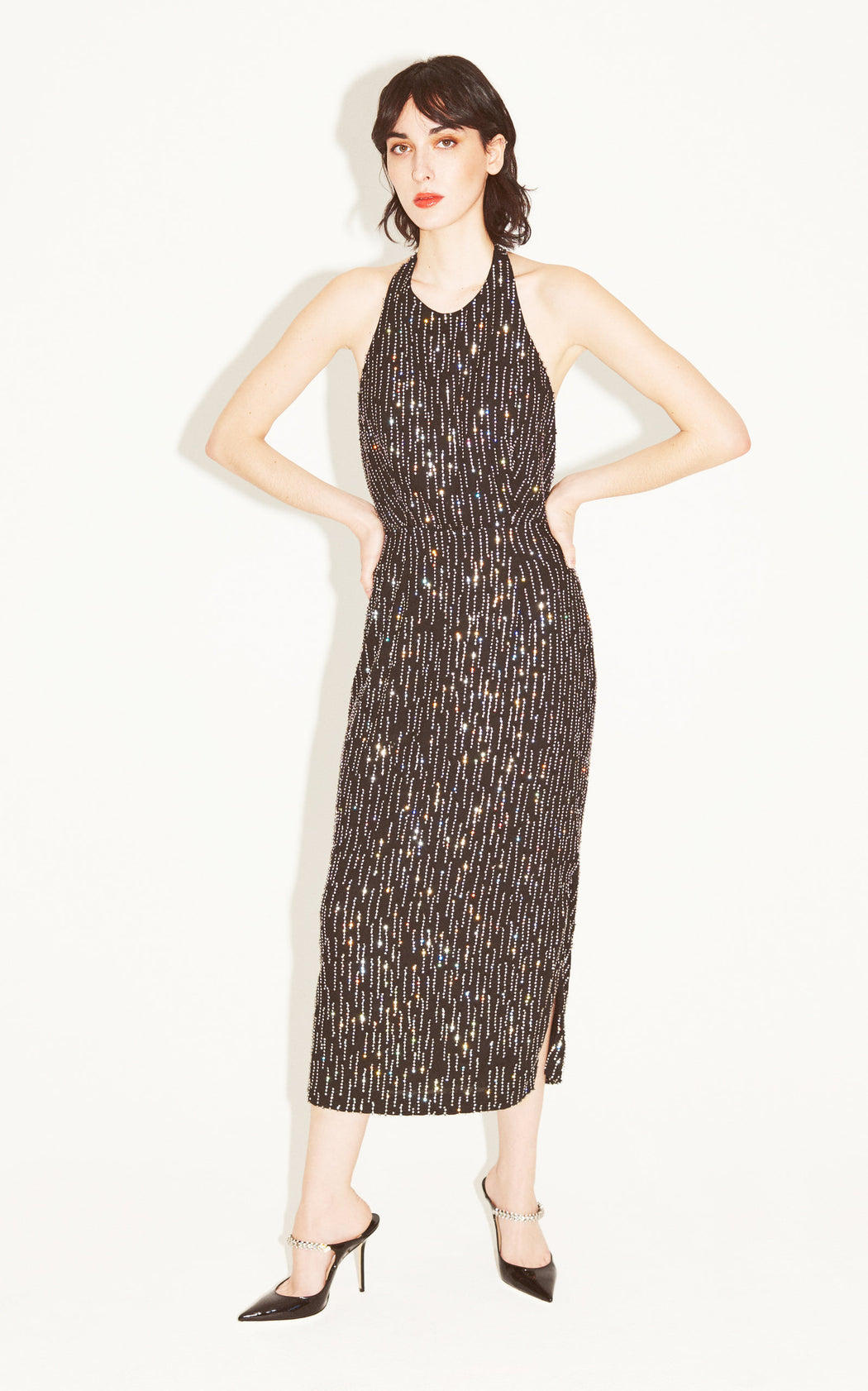 Don't Leave Me This Way Crystal Embellished Dress