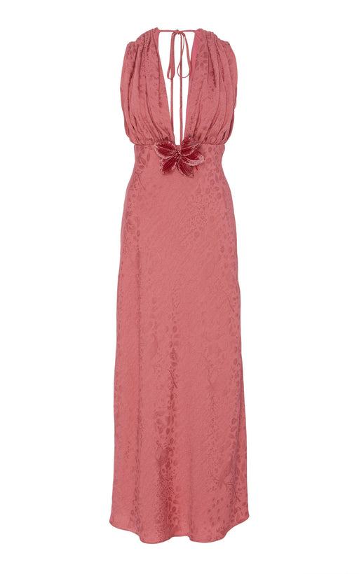 In Stock: Eleanor Pink Floral Brocade Dress
