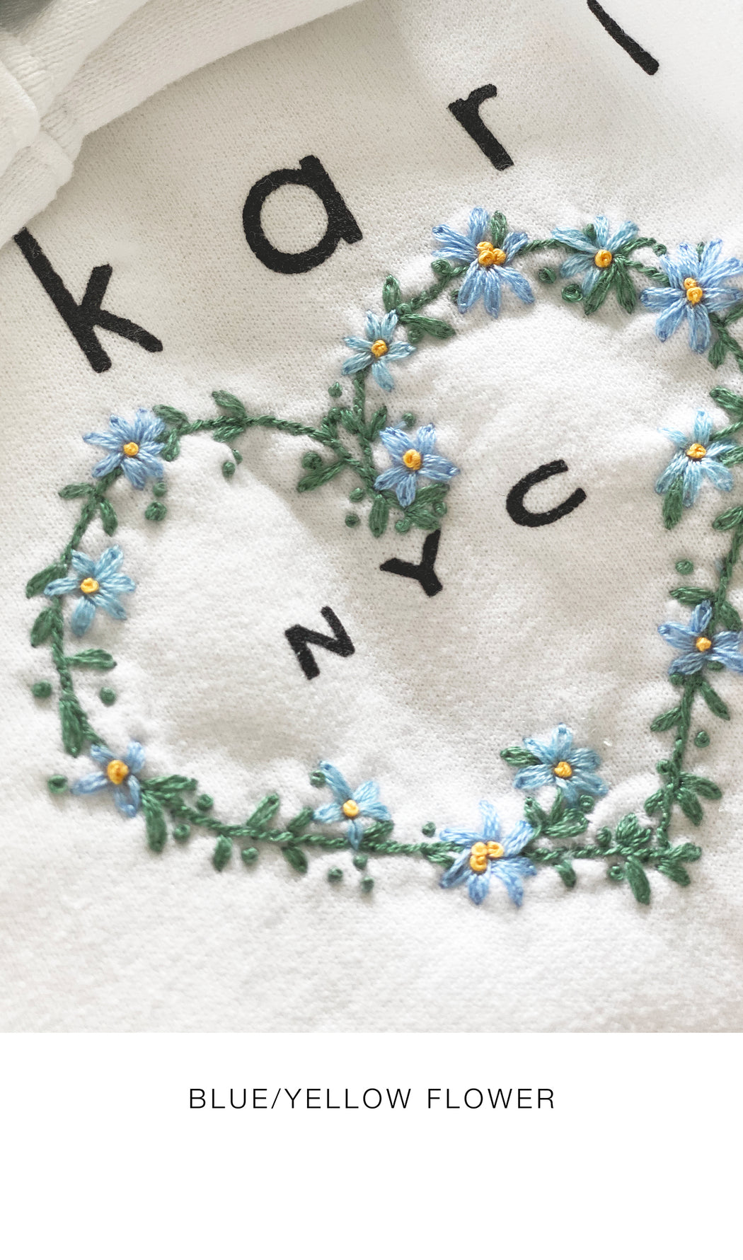 I Heart NYC Summer Sweatshirt with Floral Heart & Custom Initial Embroidery