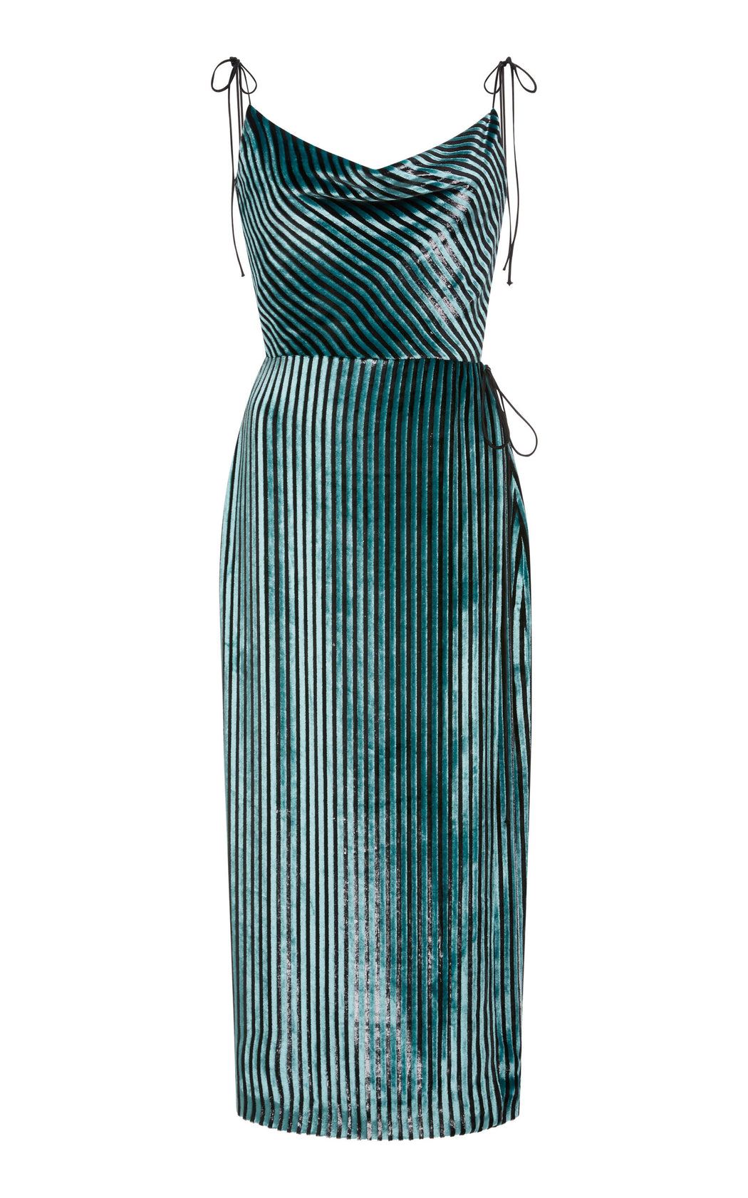 Gladys Mint Striped Velvet Wrap Dress