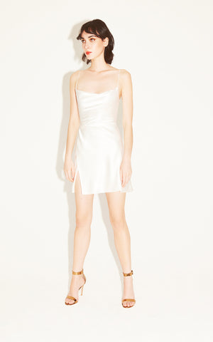 In Stock: Gloria White Silk Mini Dress