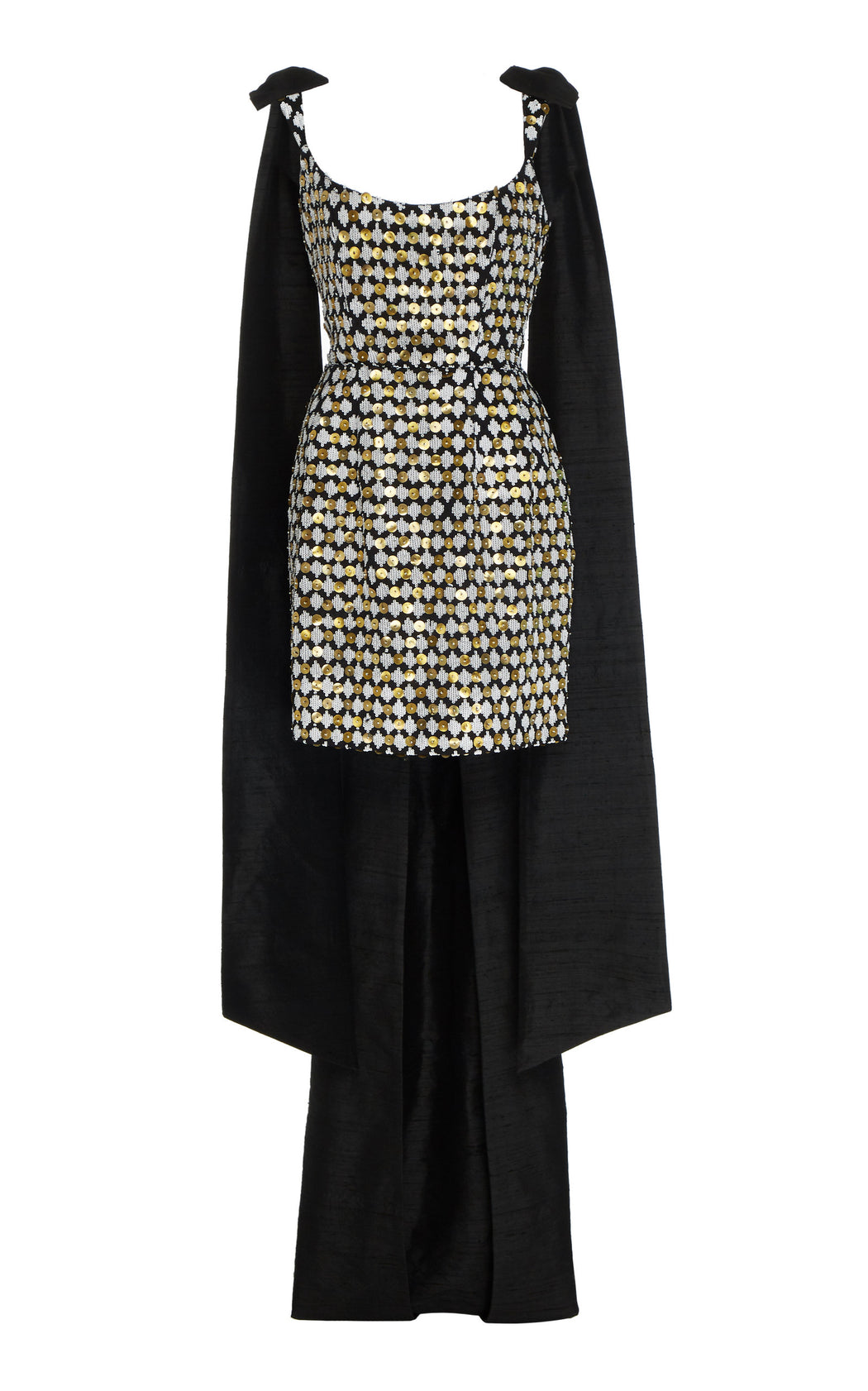 Grace Sequined Black Cotton Mini Dress