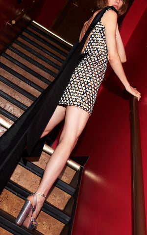 In Stock: Grace Sequined Black Cotton Mini Dress