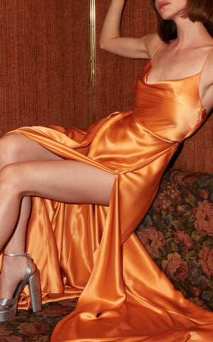 Greta Orange Silk Gown