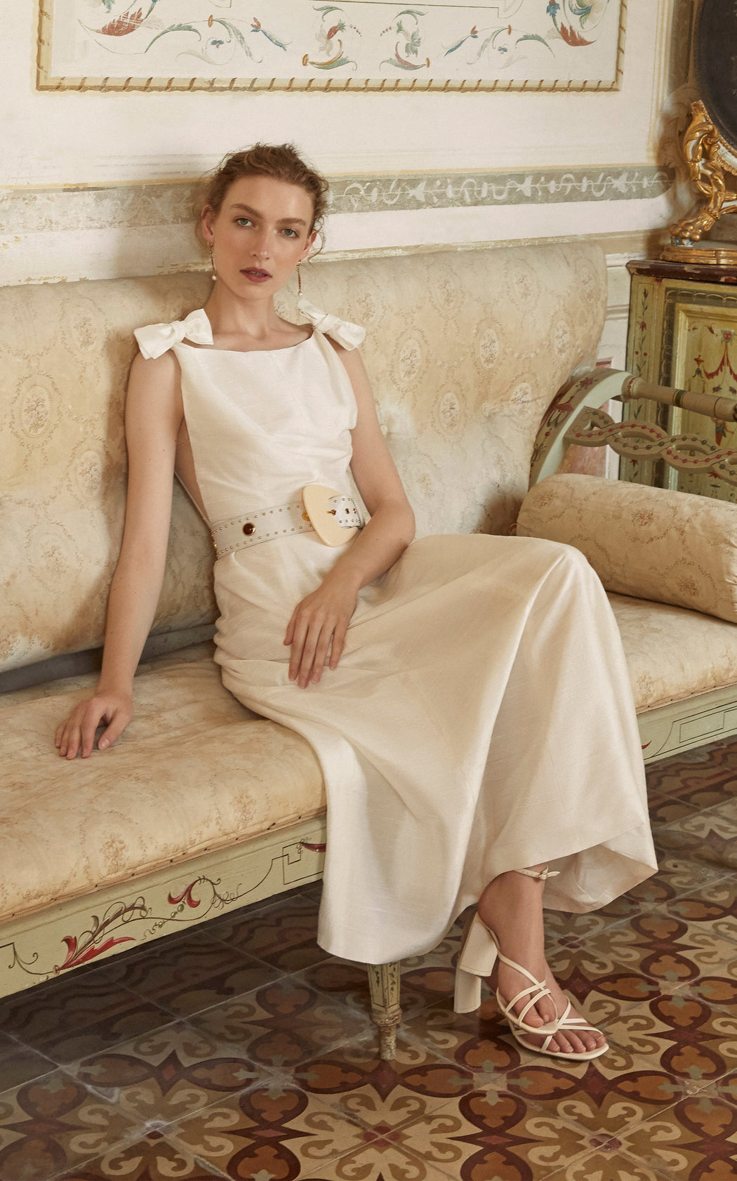 Titania White Silk Waist Belt