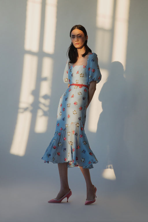 Pomona Blue Floral-Embroidered Chiffon Puff Sleeve Midi Dress