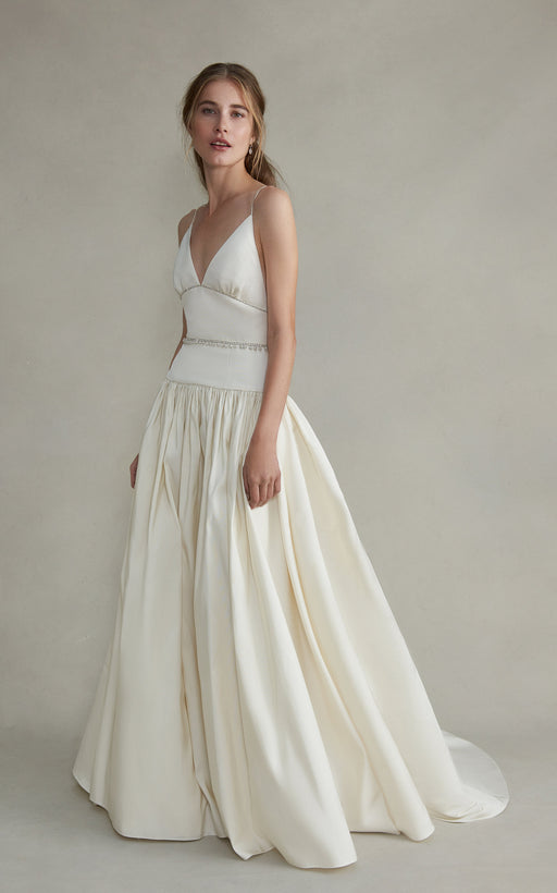 Jasmine White Silk Faille Gown