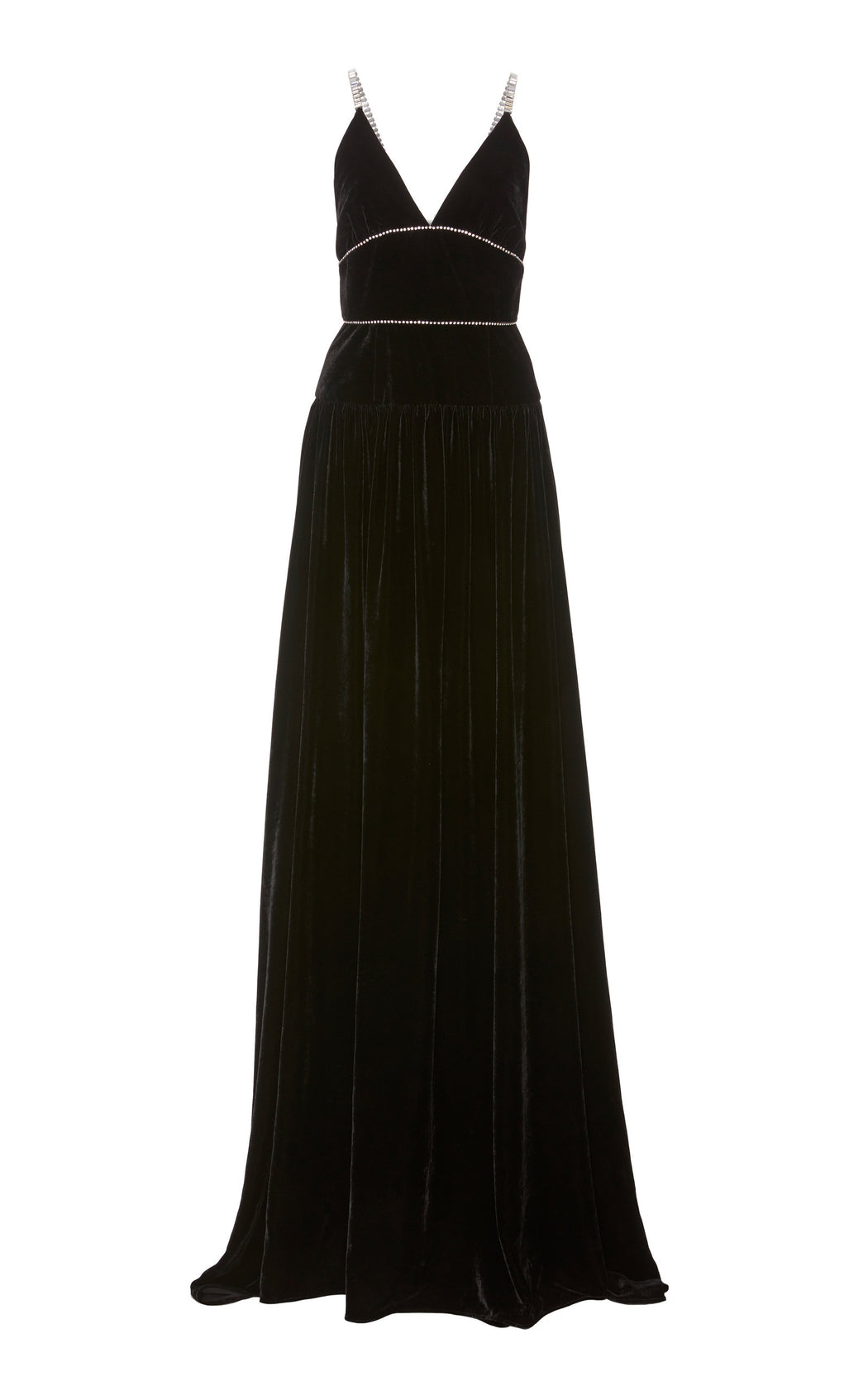 Jasmine Crystal Embellished Black Velvet Gown