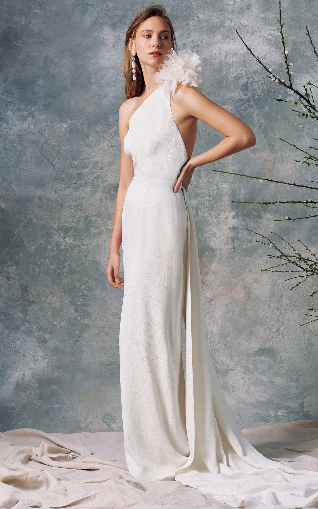 Juno White Floral Brocade Gown