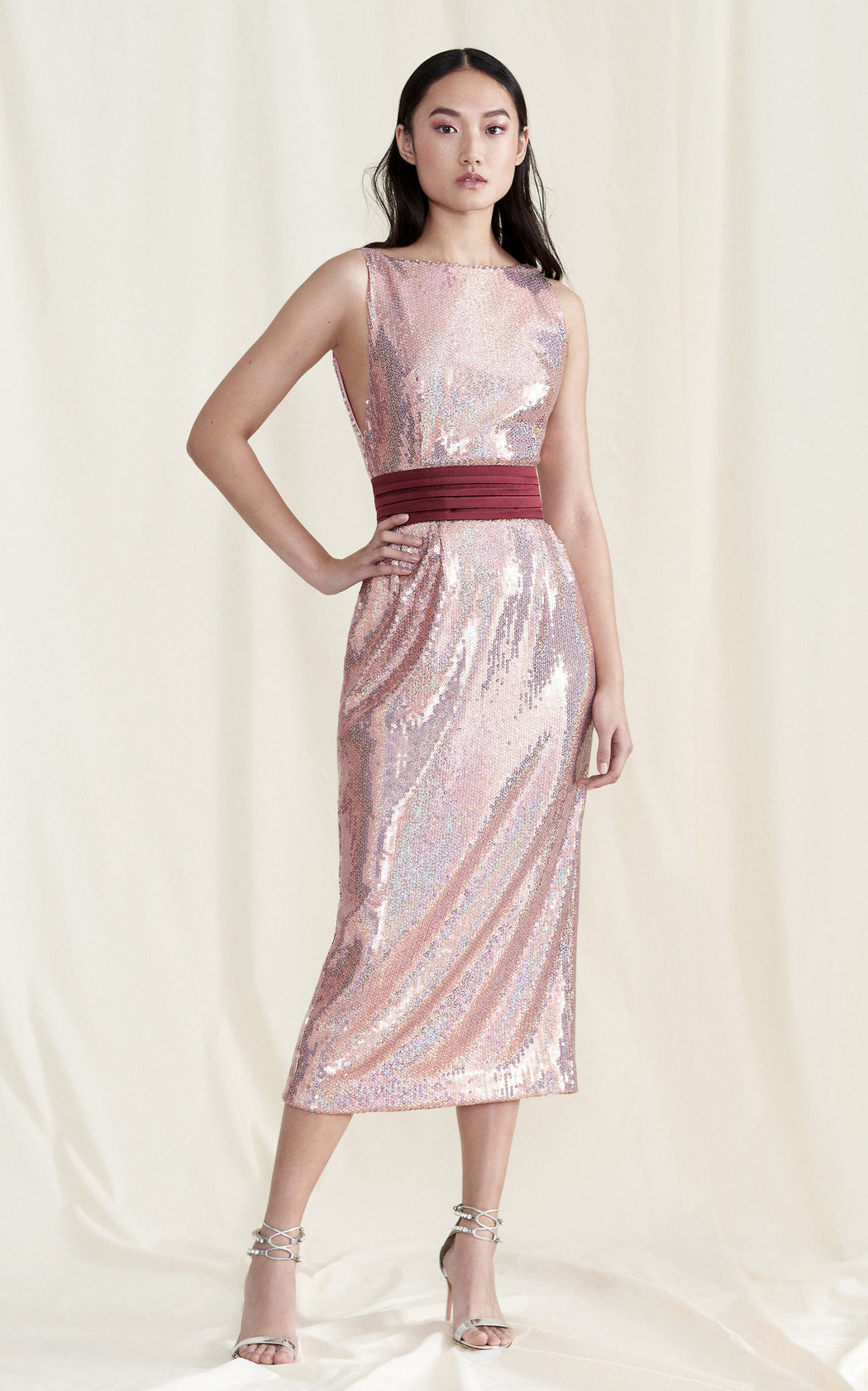 Kashni Iridescent Pink Sequin Midi Dress