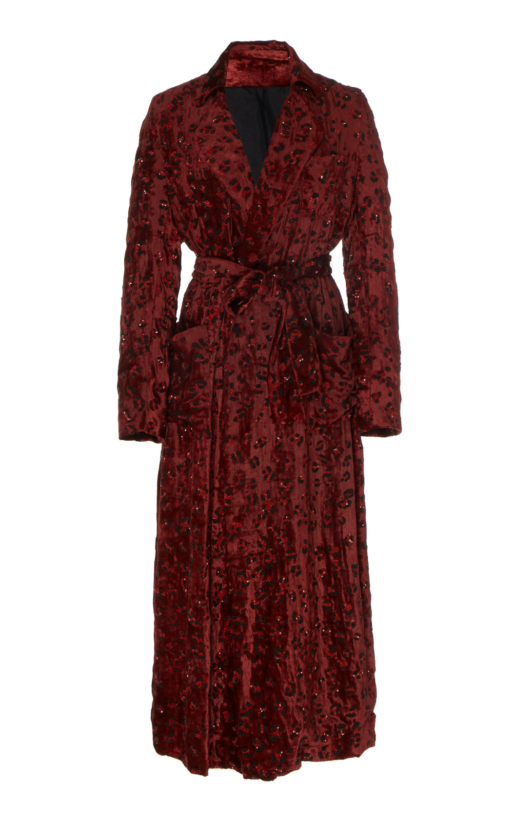 Katherine Velvet Leopard Embellished Coat Dress