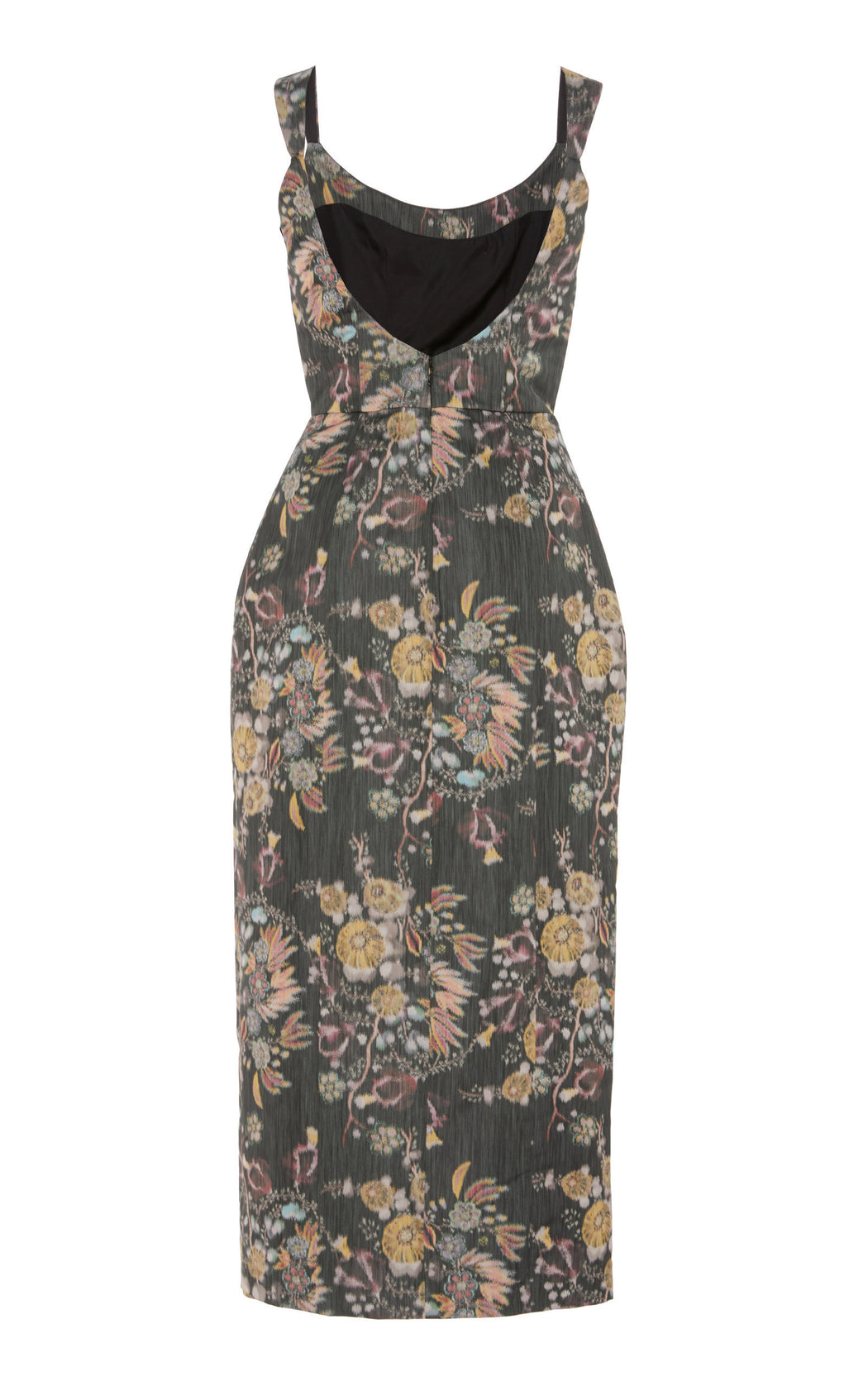 In Stock: Ladies' Night Black Floral Print Taffeta Dress