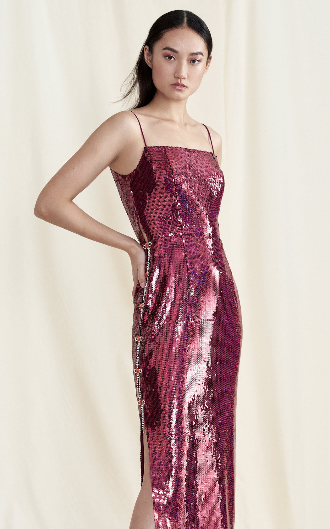 Lady Slipper Burgundy Sequin Midi Dress