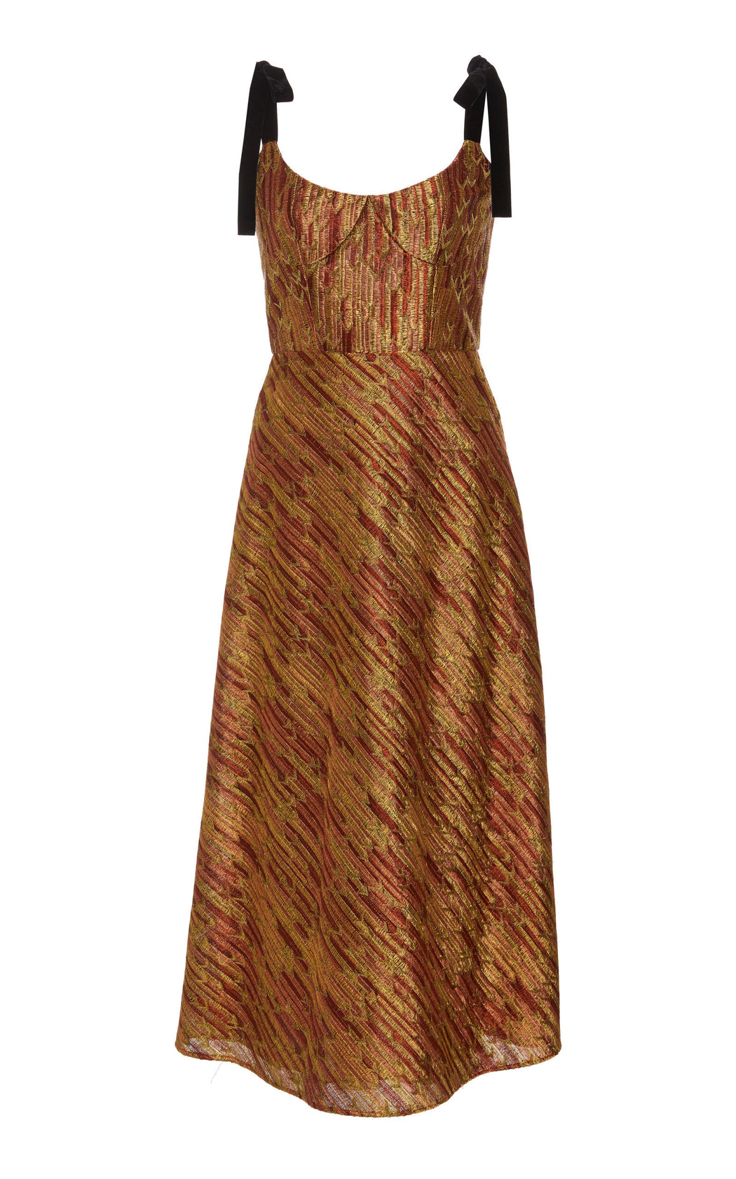Lets Groove Shimmer Brocade Midi Dress
